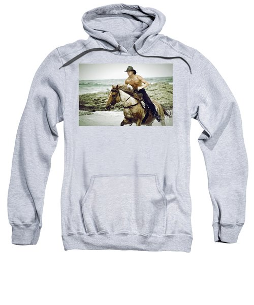 Cowboy Riding Horse On The Beach Sweatshirt