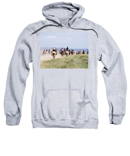Cowboys And Cowgirls Riding Horses At The Sombrero Horse Drive Sweatshirt