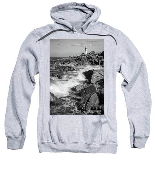 Crashing Waves, Portland Head Light, Cape Elizabeth, Maine  -5605 Sweatshirt