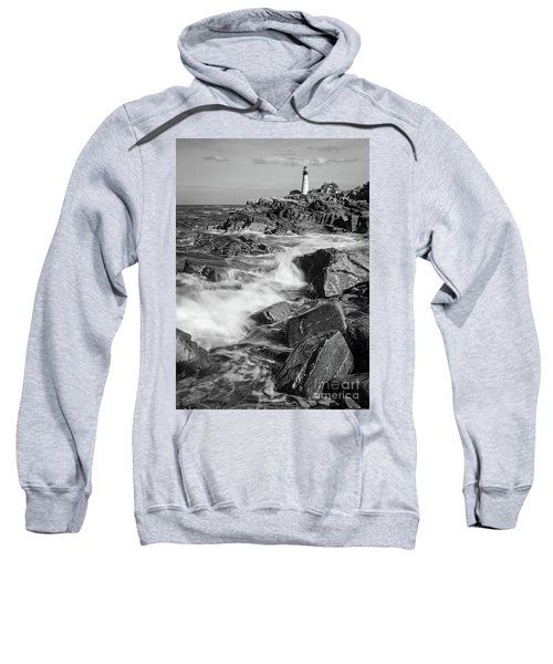 Crashing Waves, Portland Head Light, Cape Elizabeth, Maine  -5605 Sweatshirt
