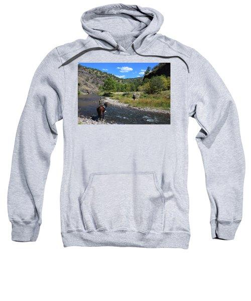Crossing The Gila On Horseback Sweatshirt