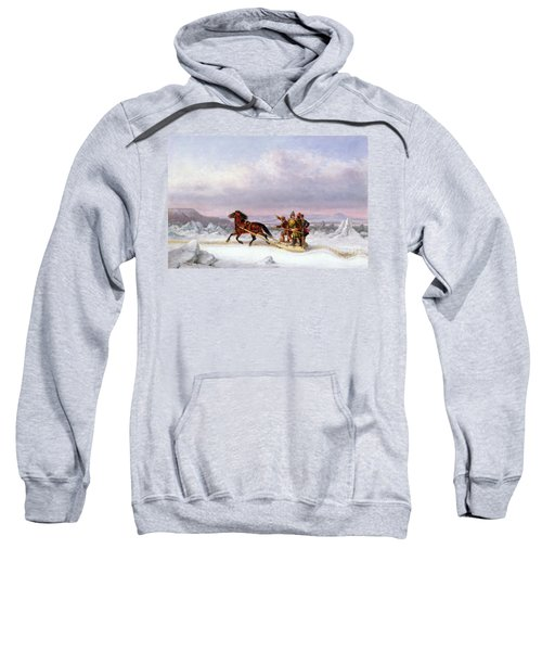 Crossing The Saint Lawrence From Levis To Quebec On A Sleigh Sweatshirt