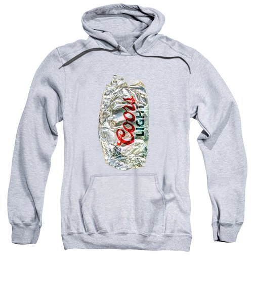 Crushed Light Silver Beer Can On Bw Plywood 79 Sweatshirt