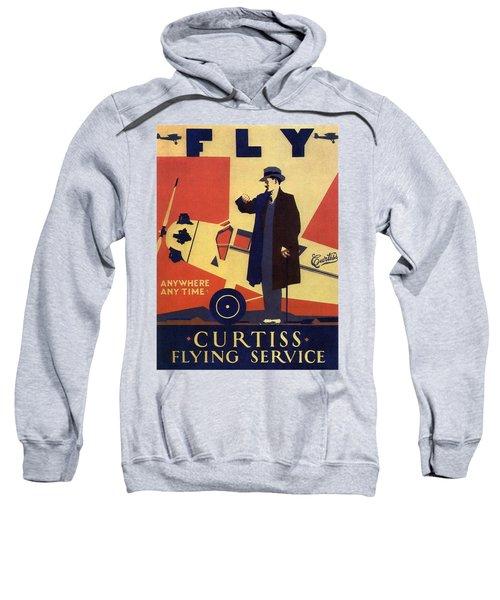 Curtiss Flying Service - Art Deco Poster - Vintage Advertising Poster  Sweatshirt