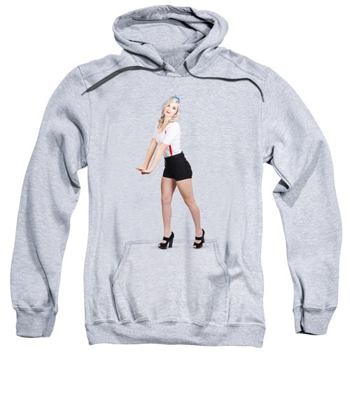 Cute Vintage Woman Isolated Over White Background Sweatshirt