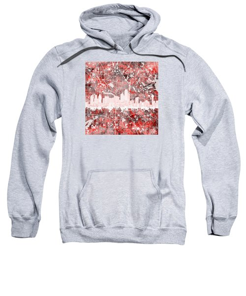 Dallas Skyline Map Red 2 Sweatshirt