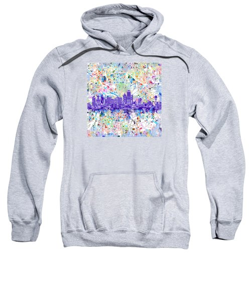 Dallas Skyline Map White 3 Sweatshirt