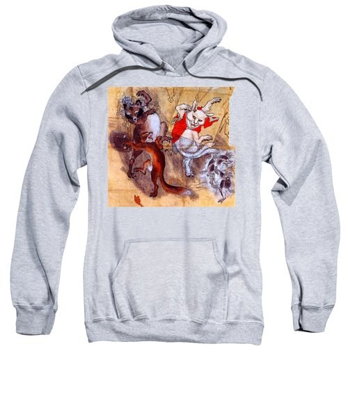 Japanese Meiji Period Dancing Feral Cat With Wild Animal Friends Sweatshirt