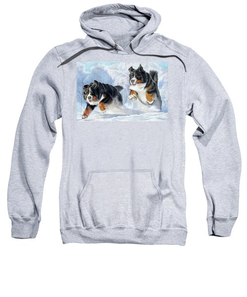 Sweatshirt featuring the painting Dashing Through The Snow by Donna Mulley