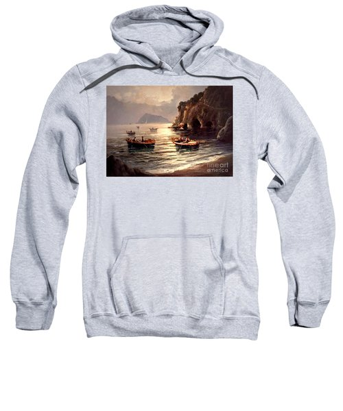 Day's End And Work Begins In The Gulf Of Naples Sweatshirt