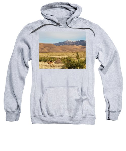 Sweatshirt featuring the photograph Deer And The Colorado Sand Dunes by James BO Insogna