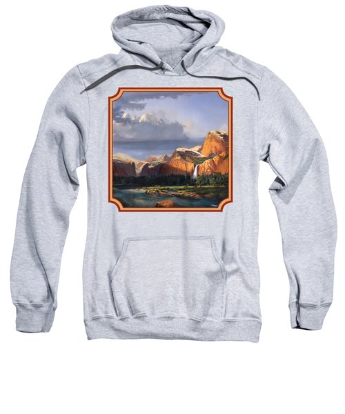 Deer Meadow Mountains Western Stream Deer Waterfall Landscape - Square Format Sweatshirt