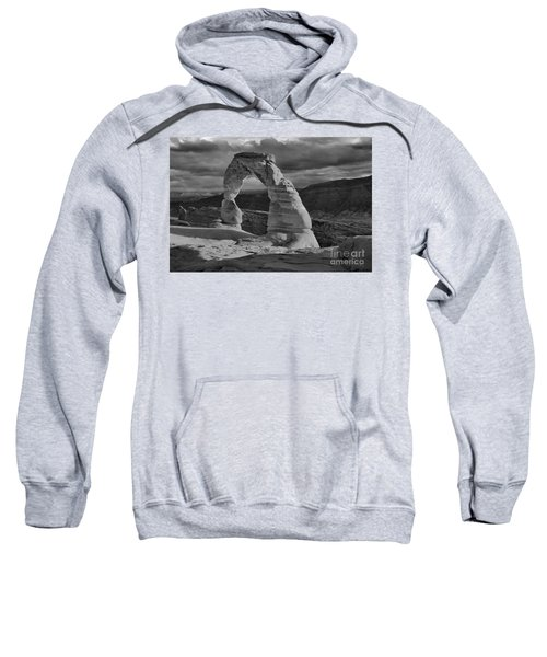 Delicate Arch Black And White Sunset Shadow Sweatshirt