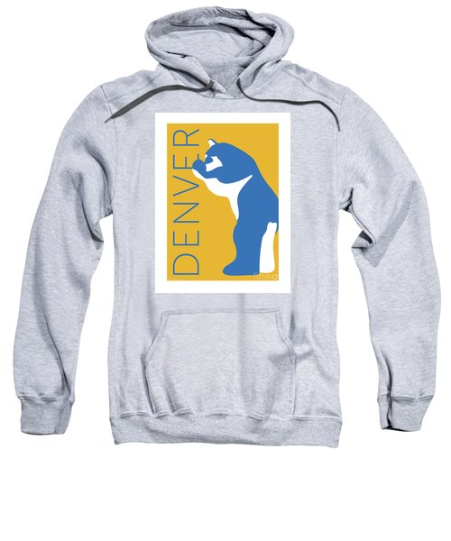 Sweatshirt featuring the digital art Denver Blue Bear/gold by Sam Brennan