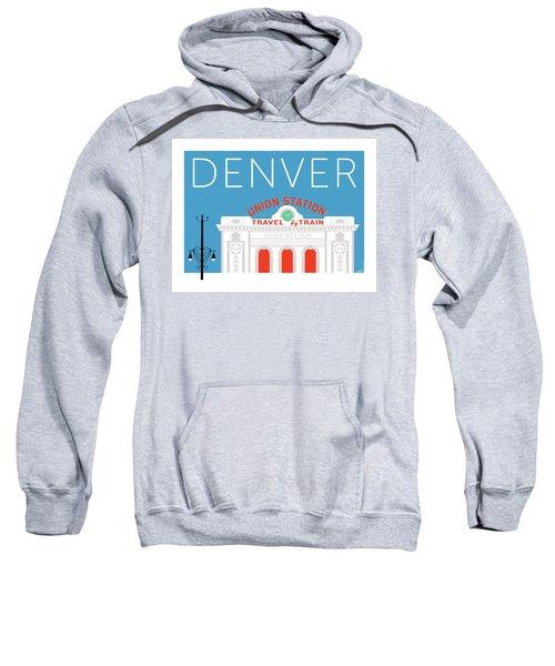 Sweatshirt featuring the digital art Denver Union Station/blue by Sam Brennan