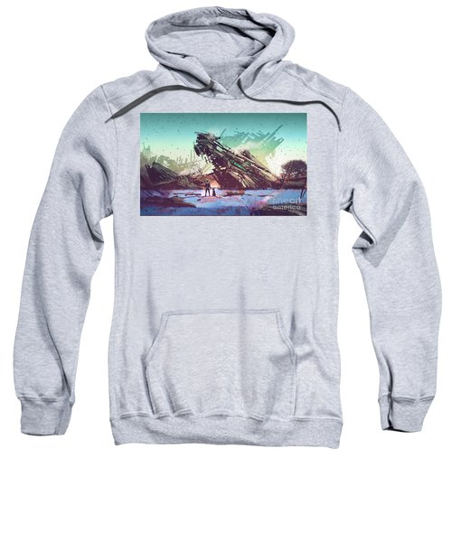 Sweatshirt featuring the painting Derelict Ship by Tithi Luadthong