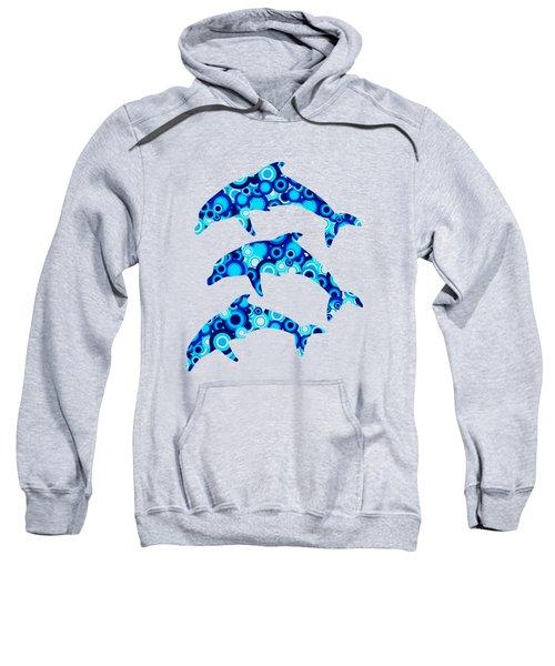 Dolphins - Animal Art Sweatshirt by Anastasiya Malakhova