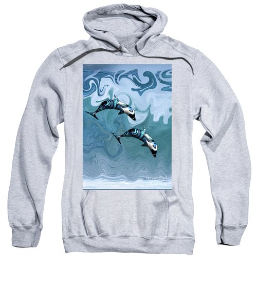 Dolphins Playing In The Waves Sweatshirt