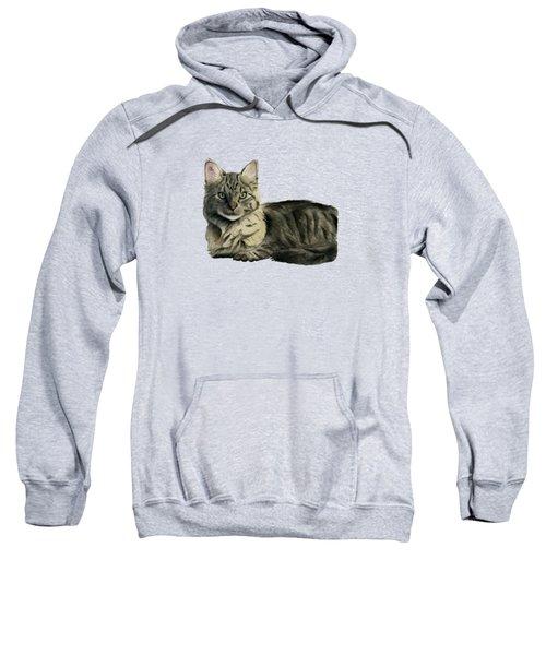 Domestic Medium Hair Cat Watercolor Painting Sweatshirt by NamiBear