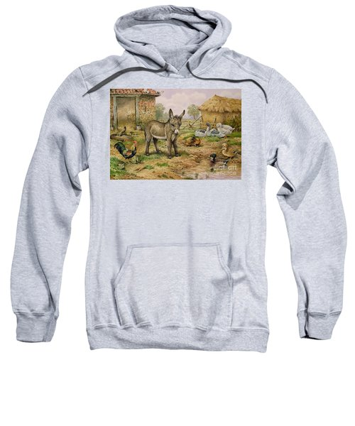 Donkey And Farmyard Fowl  Sweatshirt by Carl Donner