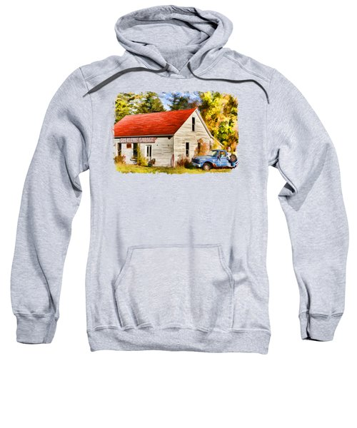 Sweatshirt featuring the painting Door County Gus Klenke Garage by Christopher Arndt