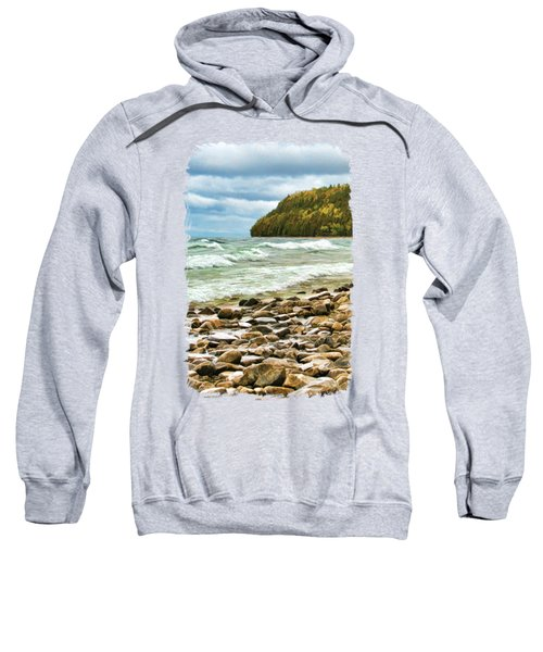 Sweatshirt featuring the painting Door County Porcupine Bay Waves by Christopher Arndt