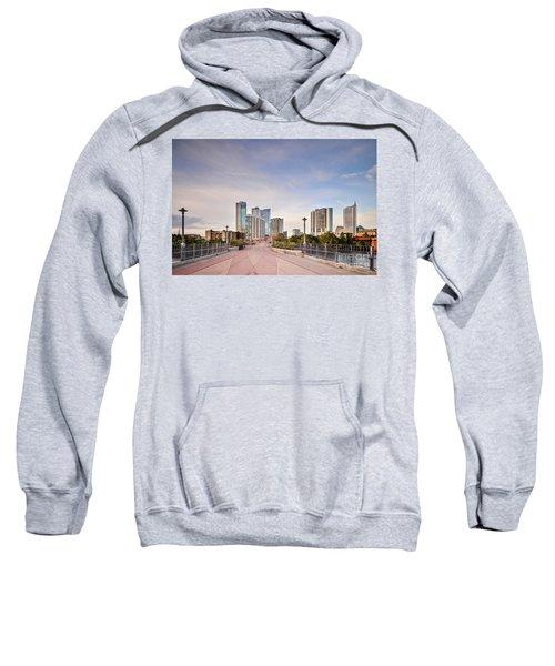 Downtown Austin Skyline From Lamar Street Pedestrian Bridge - Texas Hill Country Sweatshirt