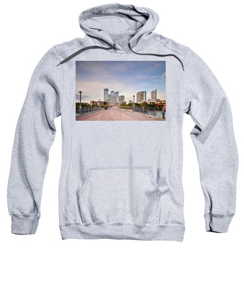 Downtown Austin Skyline From Lamar Street Pedestrian Bridge - Texas Hill Country Sweatshirt