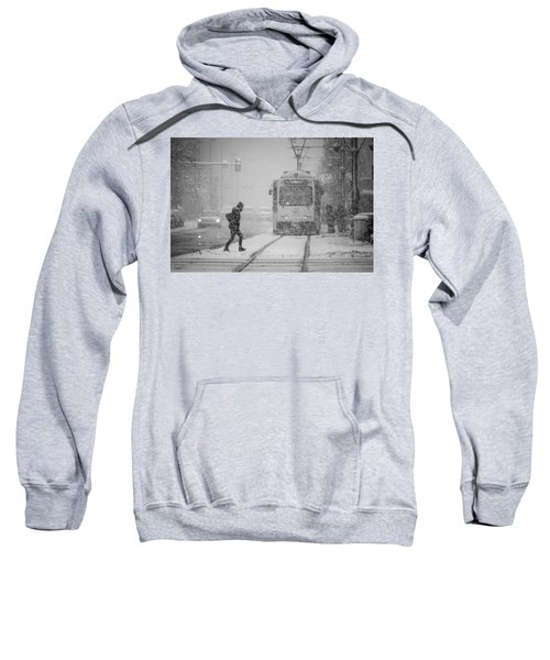 Sweatshirt featuring the photograph Downtown Snow Storm by Stephen Holst