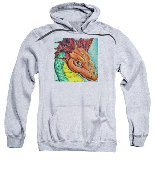 Sweatshirt featuring the drawing Dragon Portrait by Yulia Kazansky
