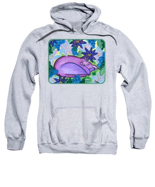 Dreaming Sleeping Purple Cat Sweatshirt