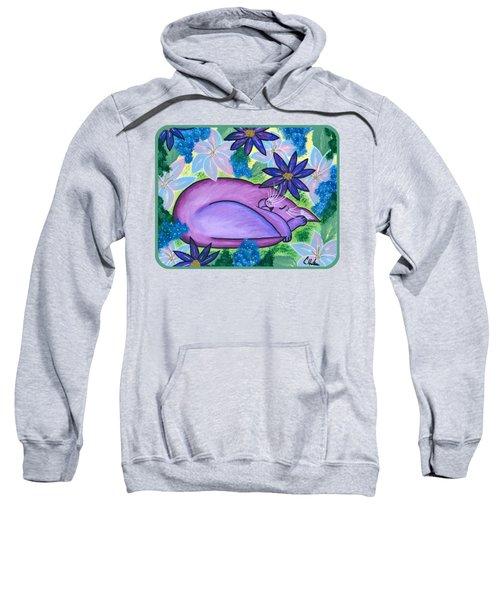 Dreaming Sleeping Purple Cat Sweatshirt