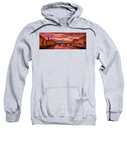 Saint Trinity Bridge From Ponte Vecchio At Red Sunset In Florence, Italy Sweatshirt