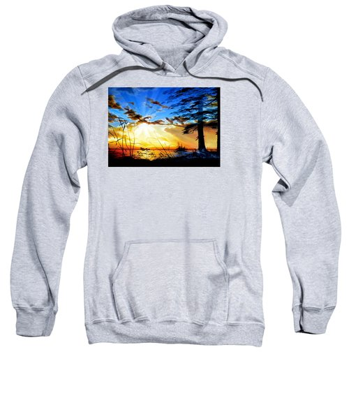 Sweatshirt featuring the painting Dreams Of Sunrise Through The Pines by Hanne Lore Koehler