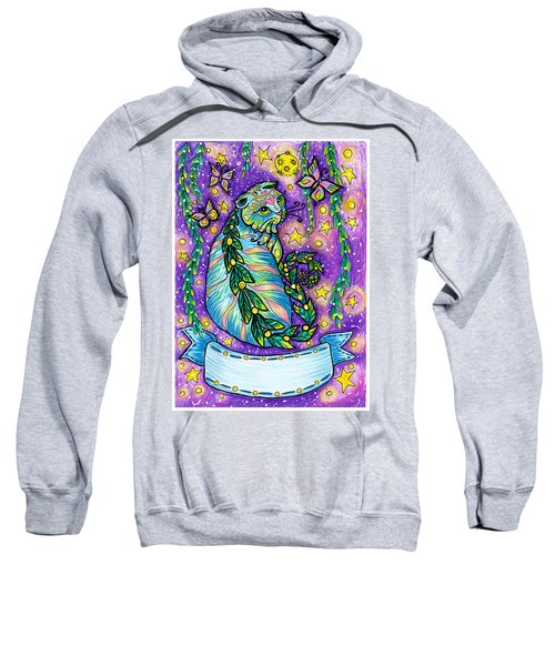 Dreamy Midnight Cat Purple Colored With Coloring Pencils Sweatshirt