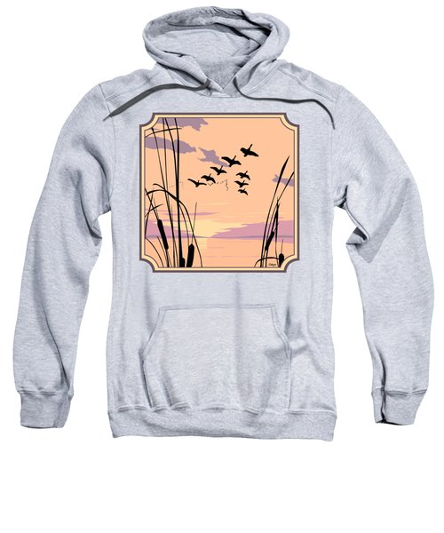 Ducks Flying Over The Lake Abstract Sunset - Square Format Sweatshirt by Walt Curlee