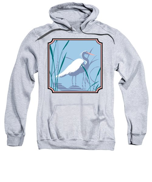 Egret Tropical Abstract - Square Format Sweatshirt by Walt Curlee