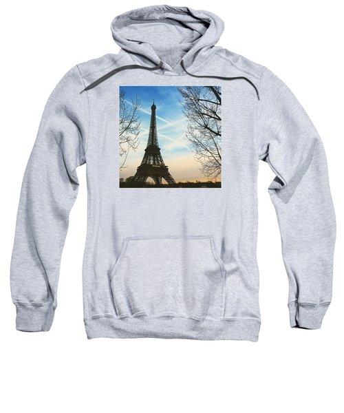 Eiffel Tower And Contrails Sweatshirt by Aurella FollowMyFrench