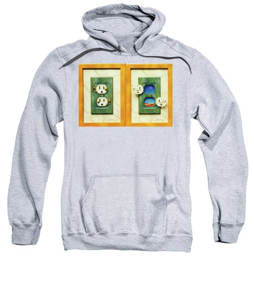 Electric View Miniature Shown Closed And Open Sweatshirt