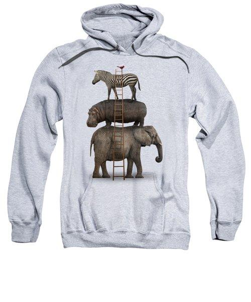 Elephant, Hippo, Zebra Animal Stack With A Cardinal Sweatshirt