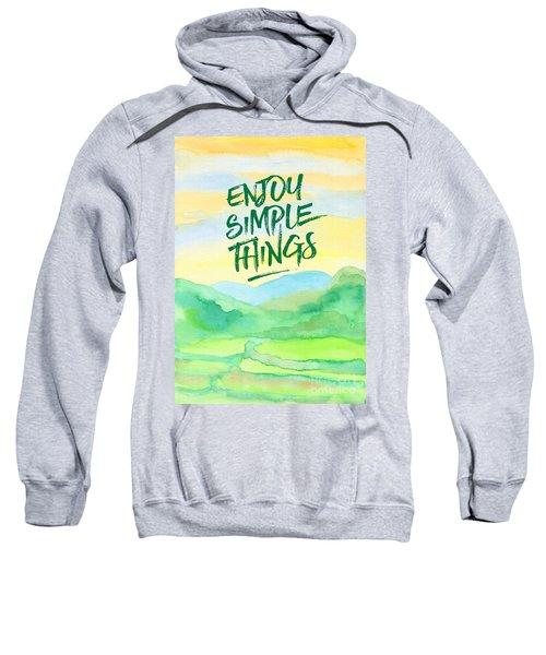 Enjoy Simple Things Rice Paddies Watercolor Painting Sweatshirt