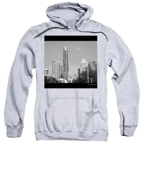 Even In #blackandwhite, The #skyline Of Sweatshirt by Austin Tuxedo Cat