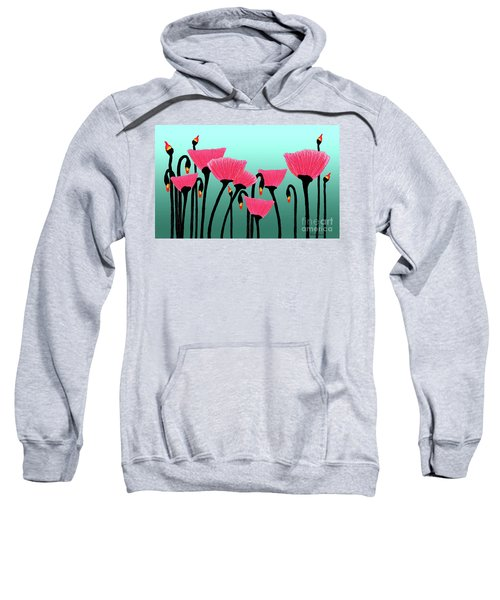 Expressive Red Pink Green Poppy Painting Y1a Sweatshirt