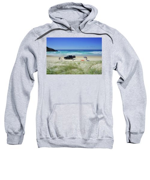 Family Day On Beach With 4wd Car  Sweatshirt