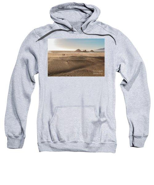 Family Walking On Sand Towards Ocean Sweatshirt