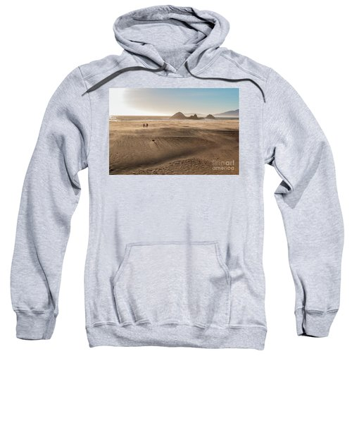 Family Walking On Sand Towards Ocean Sweatshirt