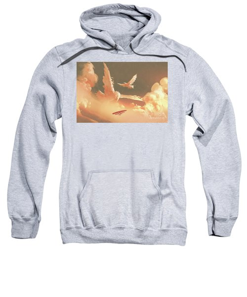 Sweatshirt featuring the painting Fantasy Sky by Tithi Luadthong