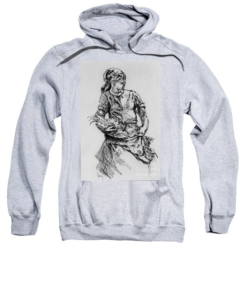 Sweatshirt featuring the drawing Farm Girl by Rod Ismay