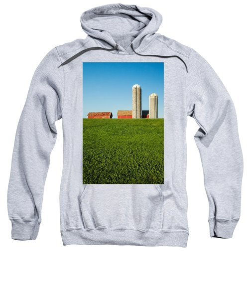 Farm Silos And Shed On Green And Against Blue Sweatshirt