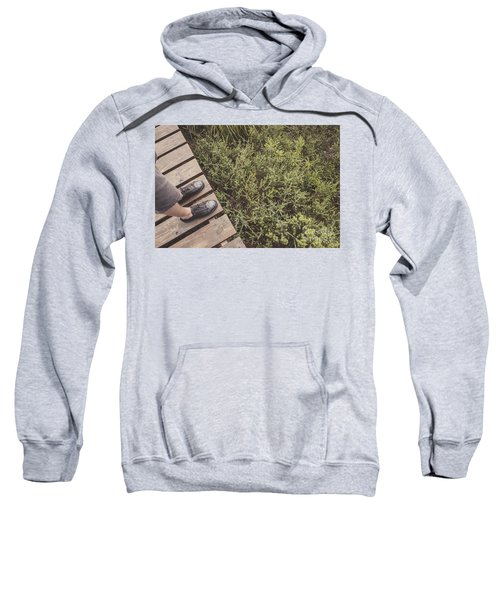 Feet Of A Man Mountaineering On A Rainforest Track Sweatshirt